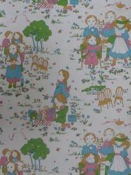 vintage kids wallpaper 'kids party in the garden' from www.funkywalls.be