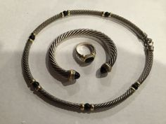 David Yurman Onyx Cable Bracelet, Necklace and Ring Sterling & 14K Gold - http://designerjewelrygalleria.com/david-yurman/david-yurman-onyx-cable-bracelet-necklace-and-ring-sterling-14k-gold/