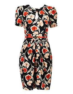 9ec26305369 Hi There From Karen Walker - Spliced Poppy Print Keyhole Dress with Belt