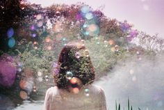 """A double exposure of a """"normal summertime"""" scene and some """"photos of bubbles"""" to create """"sweet & psychedelic results!"""" ¶ Is it possible to create double exposures in post production with digital photos?"""