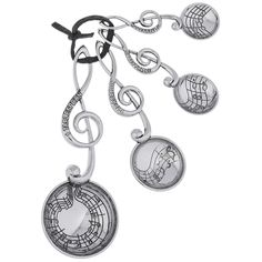 Ganz Treble Clef measuring spoons have elegant detailing. They feature a musical symbol design theme. They are made of sturdy zinc and will make a wonderful gift for your family, friends and anyone who loves music.