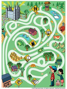 A maze starting with two youth who have choices to make along the way to the temple.