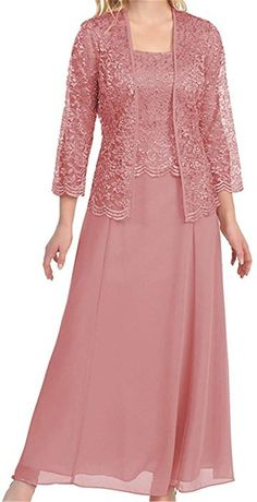 online shopping for MenaliaDress Long Chiffon Two Piece Set Mother Groom Dress Lace Jacket from top store. See new offer for MenaliaDress Long Chiffon Two Piece Set Mother Groom Dress Lace Jacket Gown With Jacket, Lace Jacket, Bolero Jacket, Mother Of The Bride Dresses Long, Mothers Dresses, Mother Bride, Bride Groom Dress, Bride Gowns, Long Formal Gowns