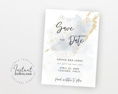 Wedding Save the Date, Blue & Gold Watercolor Save the Date, Save the Date Template, Wedding Save Our Date, Modern Save the Date Modern Save The Dates, Wedding Save The Dates, Save The Date Templates, Wedding Templates, Bachelorette Party Invitations, Bridal Shower Invitations, Electronic Save The Date, Gold Watercolor, Get The Party Started