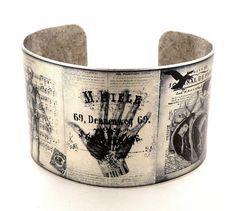 Anatomy Illustrations Cuff Bracelet, Medical Jewelry, Vintage Medical Illustrations, Silver Color