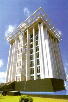 Fachada posterior, Edificio de Banco de México, el Puerto de Veracruz, Veracruz, México 1950   Arq. Carlos Lazo -   Rear facade, Bank of Mexico building, Port of Veracruz, Veracruz, Mexico 1950