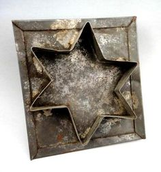 antique TIN flatback early ORIG.STAR COOKIE CUTTER primitive americana victorian |