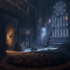 This image is an example of Gothic Style with the large stain glass window. This space also shows verticality, which is another characteristic of the gothic style. Fantasy Castle, Medieval Fantasy, Dark Fantasy, Fantasy Art, Gothic Castle, Dark Castle, Medieval Castle, Fantasy Places, Fantasy World