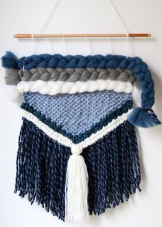 Woven wall hanging made with wool