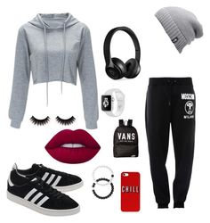 """Lazy day"" by aashtondesigns ❤ liked on Polyvore featuring Moschino, The North Face, adidas Originals, Beats by Dr. Dre, Lokai, Vans and Lime Crime"