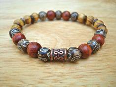 Men's Spiritual Bracelet with Semi Precious Tibetan by tocijewelry, $40.00