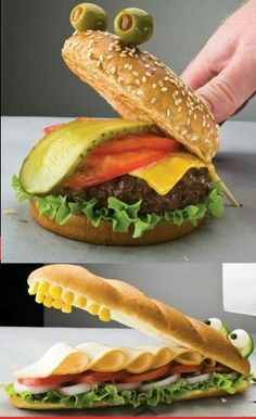 25 creative sandwich ideas that kids will love - amigu .- 25 kreative Sandwich-Ideen, die Kinder lieben werden – amigurumide 25 creative sandwich ideas that kids will love - Kreative Snacks, Healthy Hamburger, Good Food, Yummy Food, Food Humor, Kid Friendly Meals, Food Design, Design Design, Label Design