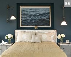Chic nautical bedroom design ideas and decor inspiration that celebrate life at sea. Nautical bedroom wall decor ideas & other nautical desi. Romantic Master Bedroom, Romantic Room, Bedroom Neutral, Bedroom Colors, Dark Blue Walls, Grey Walls, Decor Inspiration, Decor Ideas, Bedroom Inspiration