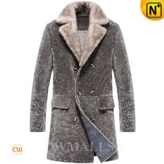CWMALLS® Men Shearling Pea Coat with Mink Collar CW807065 (Updated styles 2017)  Buy Men's shearling pea coat with mink collar at CWMALLS store, made of Turkey sheepskin shearling, comfortable yet utterly stylish shearling trench coat featuring mink collar, double breasted design and flap pockets, defends you against wind and cold.  www.cwmalls.com  Email: sales@cwmalls.com