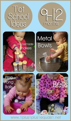 10 Tot School Ideas for Ages 9-12 Months from @1plus1plus1  #totschool #babyplay