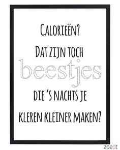 Een leuke poster van Zoedt met een grappige tekst over calorieën.
