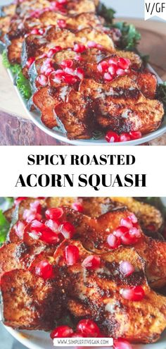 Try a unique and creative way to make acorn squash. Healthy Roasted Spicy Acorn Squash will become your go-to star side dish! Quick Vegan Meals, Vegan Recipes Beginner, Vegan Lunch Recipes, Vegan Breakfast Recipes, Delicious Vegan Recipes, Vegan Dinners, Easy Healthy Recipes, Veggie Recipes, Vegan Food