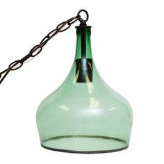 Vintage Glass Demijon Hanging Pendant Lamp - Green  $395