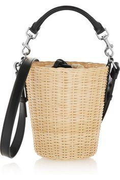 Saint Laurent | Panier small leather-trimmed bamboo shoulder bag | NET-A-PORTER.COM