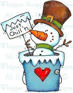 Just Chillin' Snowman - Snowmen Images - Snowmen - Rubber Stamps - Shop