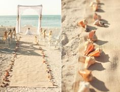 burlap aisle runner held down by shells....there's a super easy DIY for this in a book i read