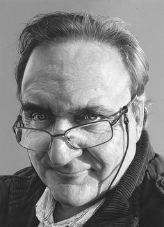 """Michael Troughton"" - Steve Caldwell, acrylic on board {contemporary figurative realism artist monochrome male head eyeglasses #hyperreal man portrait painting} stevecaldwell.co.uk"