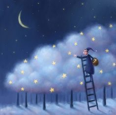Sleepy time illustration by Pete Revonkorpi Sun Moon Stars, Sun And Stars, Art And Illustration, Story Starter, Art Carte, Good Night Moon, Beautiful Moon, Moon Art, Whimsical Art