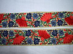 Красный Серый Декоративные индийские сари Пограничные оптовые шелковые вышитые ленты