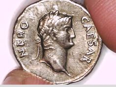 Silver coin of Emperor Nero. He reigned in 54-68 AD.