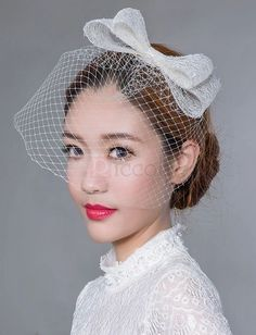 ❀ Brief Mesh Bridal Topper With Bow | Riccol ❤