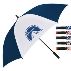 """#Golf grip EVA handle color coordinated to match the #umbrella panels. 60"""" arc, automatic open golf umbrella. Features fiberglass ribs & black powder coated shaft. Safety Fiberglass Ferrule (tip at the top).  #marketing #sales #kitchen #convention #restaurant #charity #woundedwarrior #fundraiser #logo #events"""