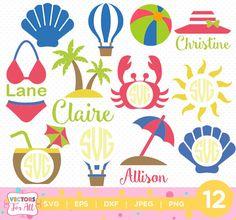 Summer Collection SVG Monogram SVG, Summer Monogram Font, SVG Files, Summer Sun Beach Decoration Silhouette Cut Files, Cricut Cut Files by VectorsForAll on Etsy