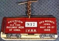 Antique I.V.R.R. 1908 Reunion Celluloid Chain Fob Badge picclick.com