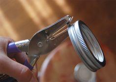 Mason Jar Crafts   Take the mason jar apart and remove the flat lid part. Punch/pierce ...