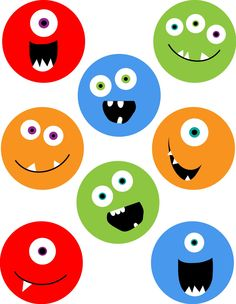 digital collage sheet monsters 2 3/4 inch circles
