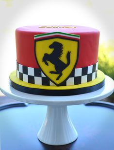 Ferrari Cake - cake by Elisabeth Palatiello Bolo Ferrari, Ferrari Cake, Ferrari Party, Ferrari Logo, Renn Kuchen, Lamborghini Cake, Racing Cake, Bolo Barbie, Festa Hot Wheels