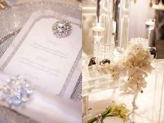 white-and-silver-winter-wedding-wonderlad-custom-couture-bejeweled-crystal-brooch-luxurious-wedding-menu-invitation-san-diego