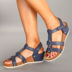 Women Comfy Metal Hook Loop Wedges Heel Sandals is comfortable to wear. Shop on NewChic to see other cheap women sandals on sale. Grey Wedges, Shoes With Jeans, Sandals For Sale, Comfortable Sandals, Types Of Shoes, Leather Sandals, Wedge Sandals, Ladies Sandals, Women Sandals