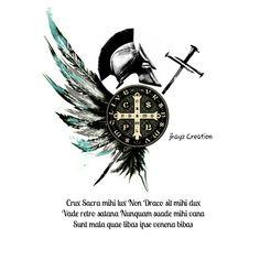 Saint michael and saint benedict cross tattoo idea Tattoos 3d, Cover Up Tattoos, Body Art Tattoos, Tattoos For Guys, Saint Michael, Tattoo Sleeve Designs, Sleeve Tattoos, Tattoo Sketches, Tattoo Drawings