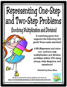 A matching game that supports the following 3rd grade Texas math standard: 3.5B (Represent and solve one- and two-step multiplication and division problems within 100 using arrays, strip diagrams, and equations.)Great to use during small group instruction, a tutorial group, or in stations!