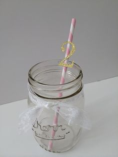 20 Gold and Pink Paper Straws with Number or by PaperTrailbyLauraB