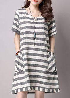 Pocket Embellished Short Sleeve Stripe Print Tunic Dress