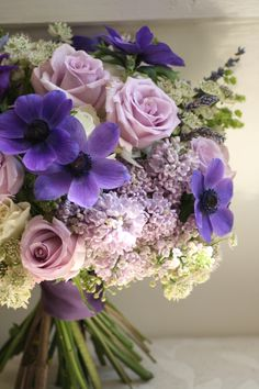 Bouquet of lilac, hydrangea, roses, anemone, astrantia and lavender.  Liberty Blooms
