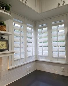 "Corner Window with 4.5"" Louvers & Flat Trim   Plantation Shutters"