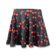 Cherries Black Skirt
