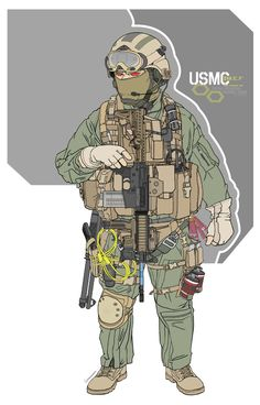 To continue my painting military subjects This is about USMC M.F I hope you like it ~ USMC M. Anime Military, Military Gear, Gi Joe, Soldier Drawing, Character Art, Character Design, Rainbow Six Siege Art, Military Drawings, Military Special Forces
