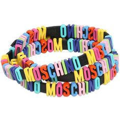 MOSCHINO Leather Bracelet With Logo Lettering (£165) ❤ liked on Polyvore featuring jewelry, bracelets, moschino, black, colorful bracelet, leather bracelet, wrap bracelet, black bracelet and black wrap bracelet