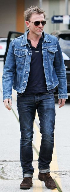 The .01% who make denim on denim work. Daniel Craig