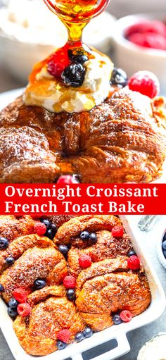 christmas breakfast This Overnight Croissant French Toast Bake can be prepared ahead of time, perfect for feeding breakfast to a crowd! This baked french toast casserole is perfect for Mothers Day, Easter, Christmas or any other brunch! Croissant Pizza, Croissant French Toast, Baked French Toast Casserole, French Toast Bake, Healthy French Toast, Christmas Morning Breakfast, Christmas Brunch, French Christmas Food, Christmas Breakfast Casserole