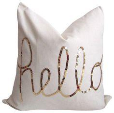 Hello Gold Sequin Pillow Cover with Zipper | Cushion Cut Decor cushioncutdecor.com #houzz